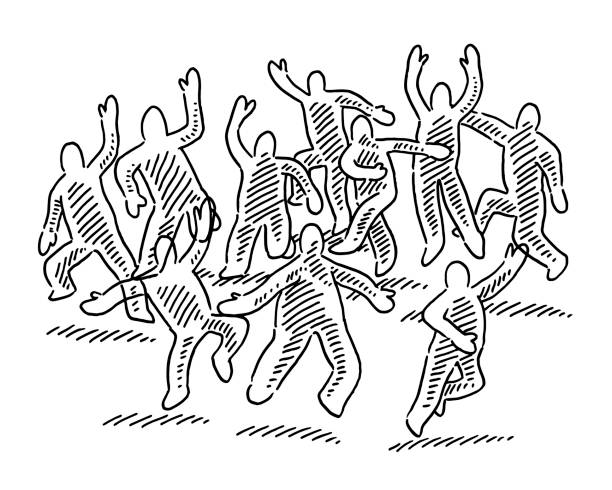Cheering Group Of Human Figures Drawing Hand-drawn vector drawing of a Cheering Group Of Human Figures. Black-and-White sketch on a transparent background (.eps-file). Included files are EPS (v10) and Hi-Res JPG. cartoon character figure stock illustrations
