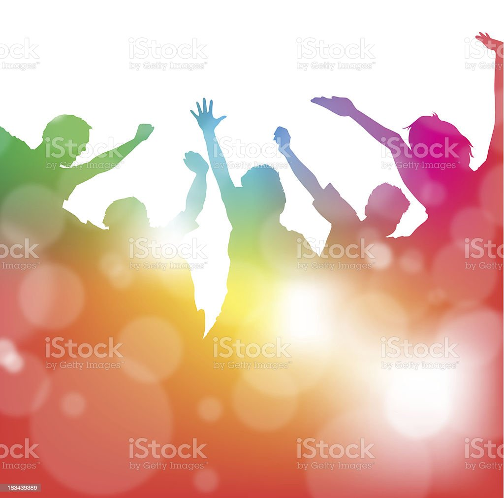 Cheering People at the Festival - Royalty-free Active Lifestyle stock vector