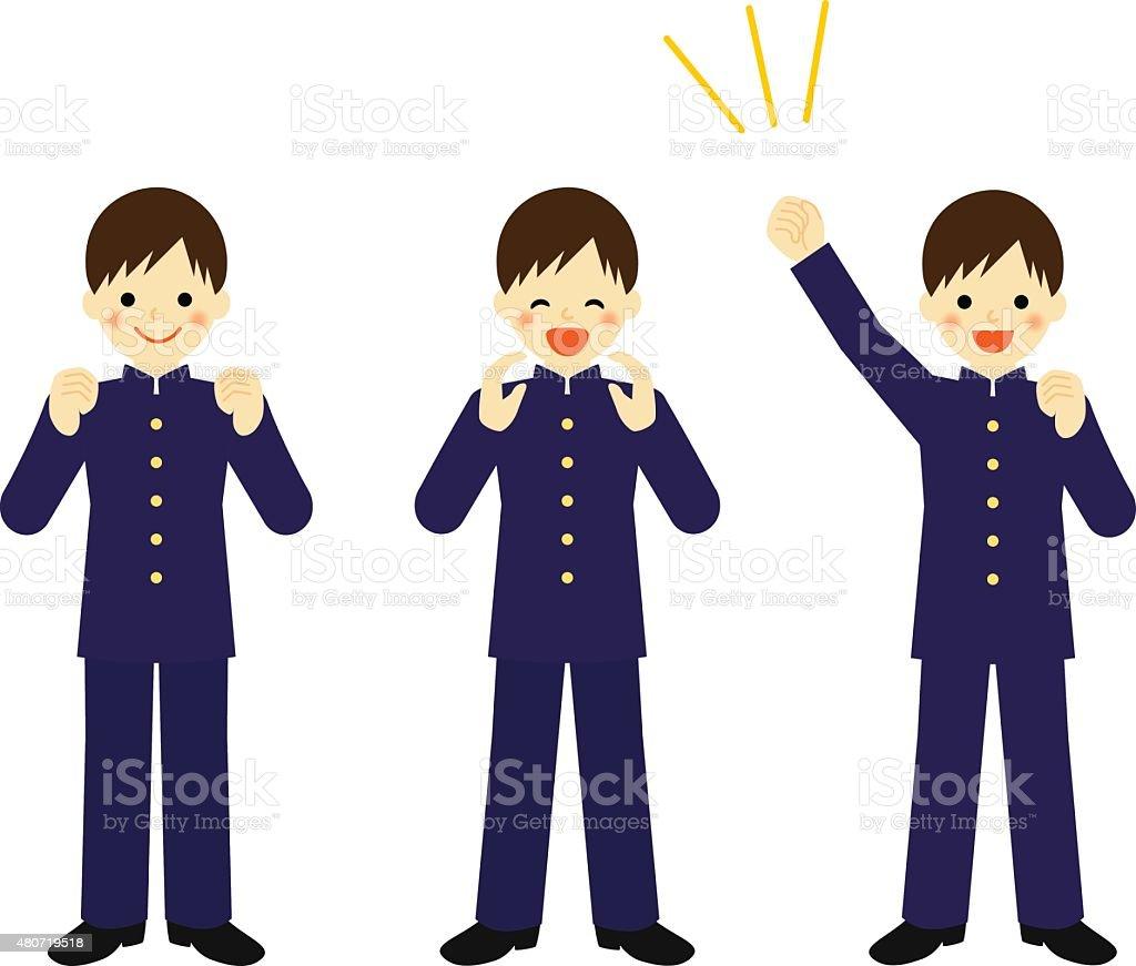 Cheering school boy vector art illustration