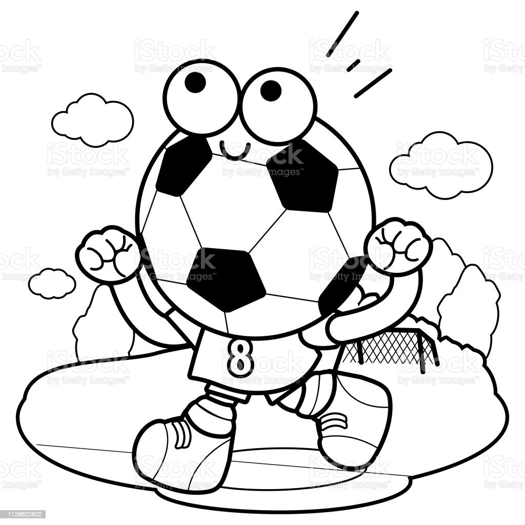 Cheering Soccer Ball Character Vector Black And White Coloring Book Page  Stock Illustration - Download Image Now - IStock