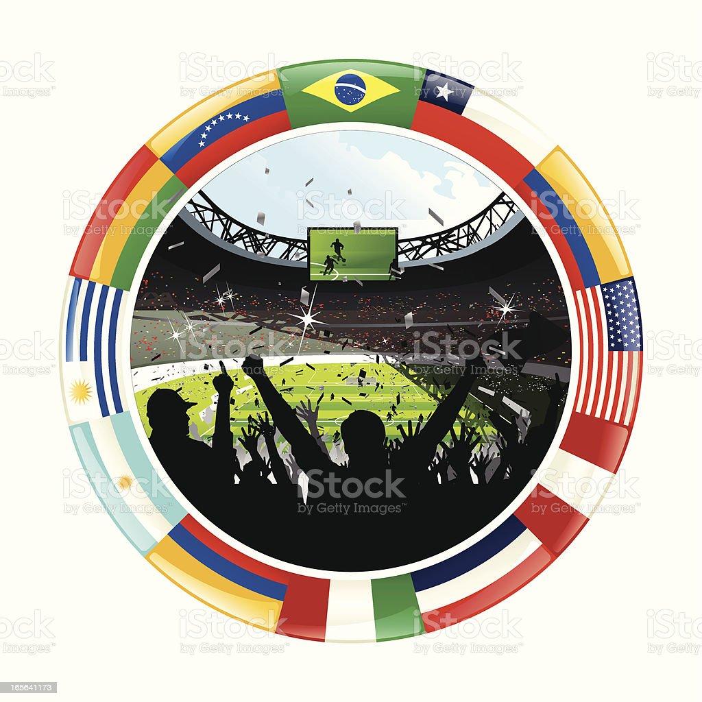 Aclamar fútbol multitud y anillo de Pan-American Flags - ilustración de arte vectorial