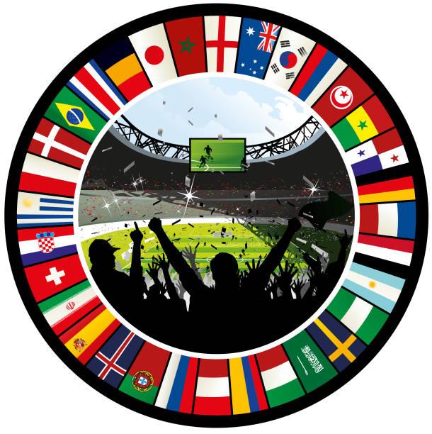 Animando multitud de fútbol rodeado por anillo de la bandera del mundial 2018 - ilustración de arte vectorial