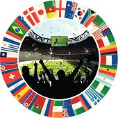 Vector illustration depicting a cheering crowd in silhouette, with a soccer stadium in the background. The stadium image is surrounded by a ring of flags from different countries.