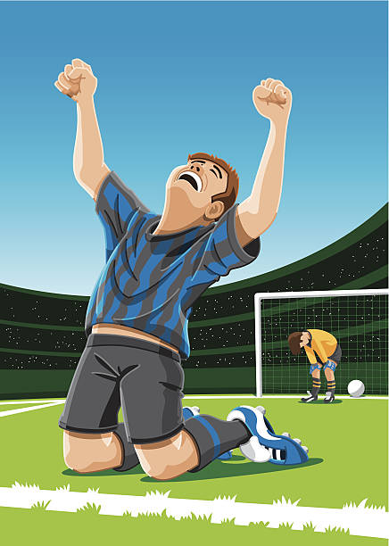 Cheering Soccer Player After Scoring Goal Vector Illustration of a happy soccer player after he scored a goal. Striker, goalkeeper, goal, shadows, stadium and sky are on separate layers. The colors in the .eps-file are ready for print (CMYK). Included files: EPS (v8) and Hi-Res JPG. soccer stock illustrations