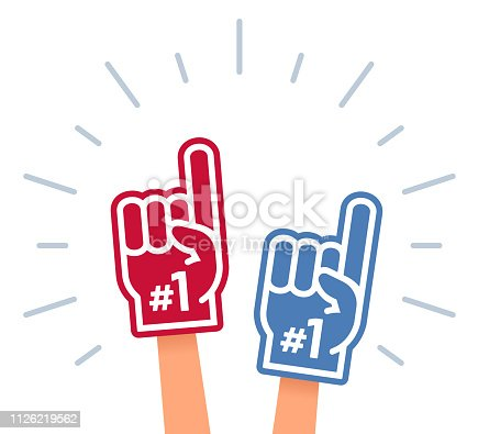Sports fan cheering symbols including foam number one finger and flag.
