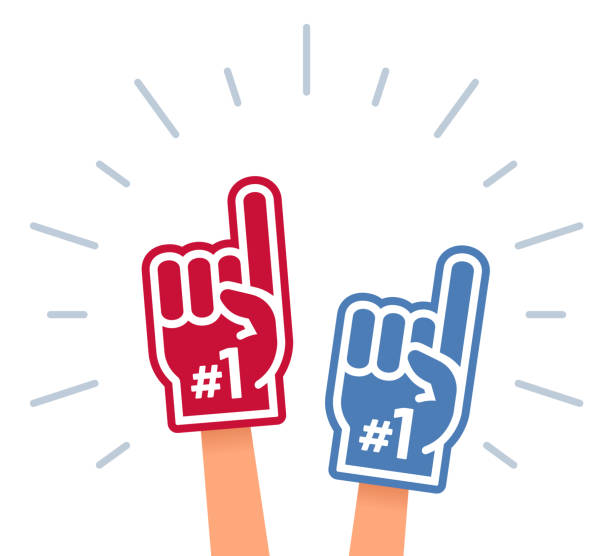 Cheering Sports Fans Sports fan cheering symbols including foam number one finger and flag. single object stock illustrations
