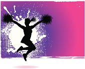 """Graphic silhouette background illustration of a girl cheerleader. Scale to any size. Check out my """"Flaming Sports Balls and more"""" light box for more."""