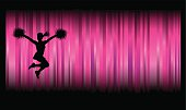 "Graphic silhouette background illustration of a girl cheerleader. Scale to any size. Check out my ""Flaming Sports Balls and more"" light box for more."