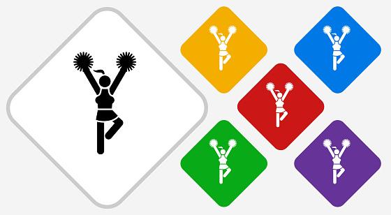 Cheerleader Color Diamond Vector Icon