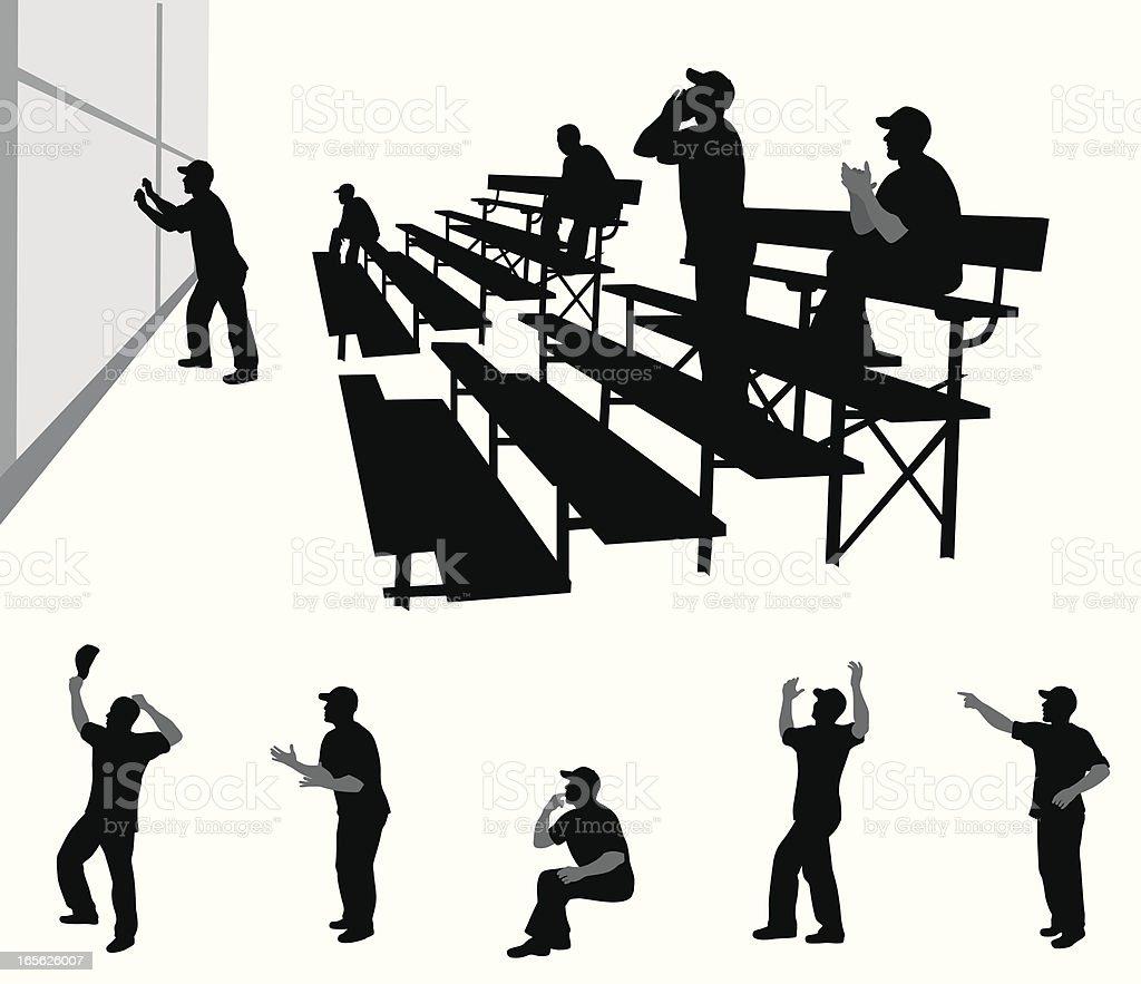 Cheerleader Dads Vector Silhouette vector art illustration