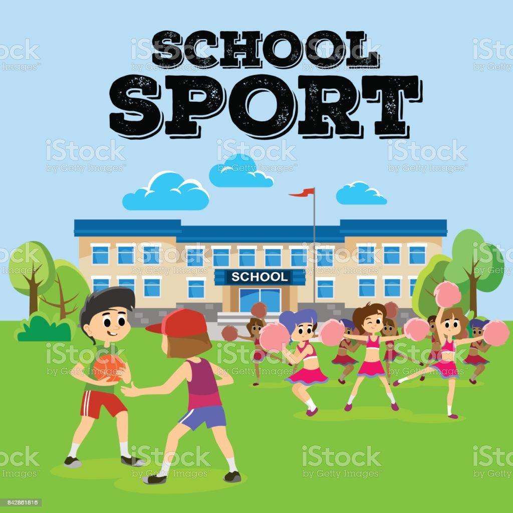チアリーダーのポンポンティーンエイ ジャーの女の子学校チーム