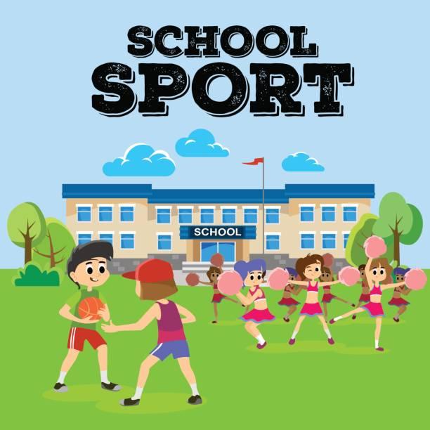 cheerleader tanzen in uniform mit pompons, teenager mädchen team schulkonzept, grundschule und gymnasium sport aktivität vektor-illustration - grundschule stock-grafiken, -clipart, -cartoons und -symbole