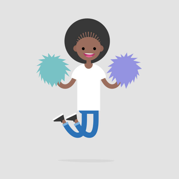 Cheerleader girl jumping with the pompoms. Sport activities. Supporting the team. Young excited character celebrating the success. Flat editable vector illustration, clip art vector art illustration