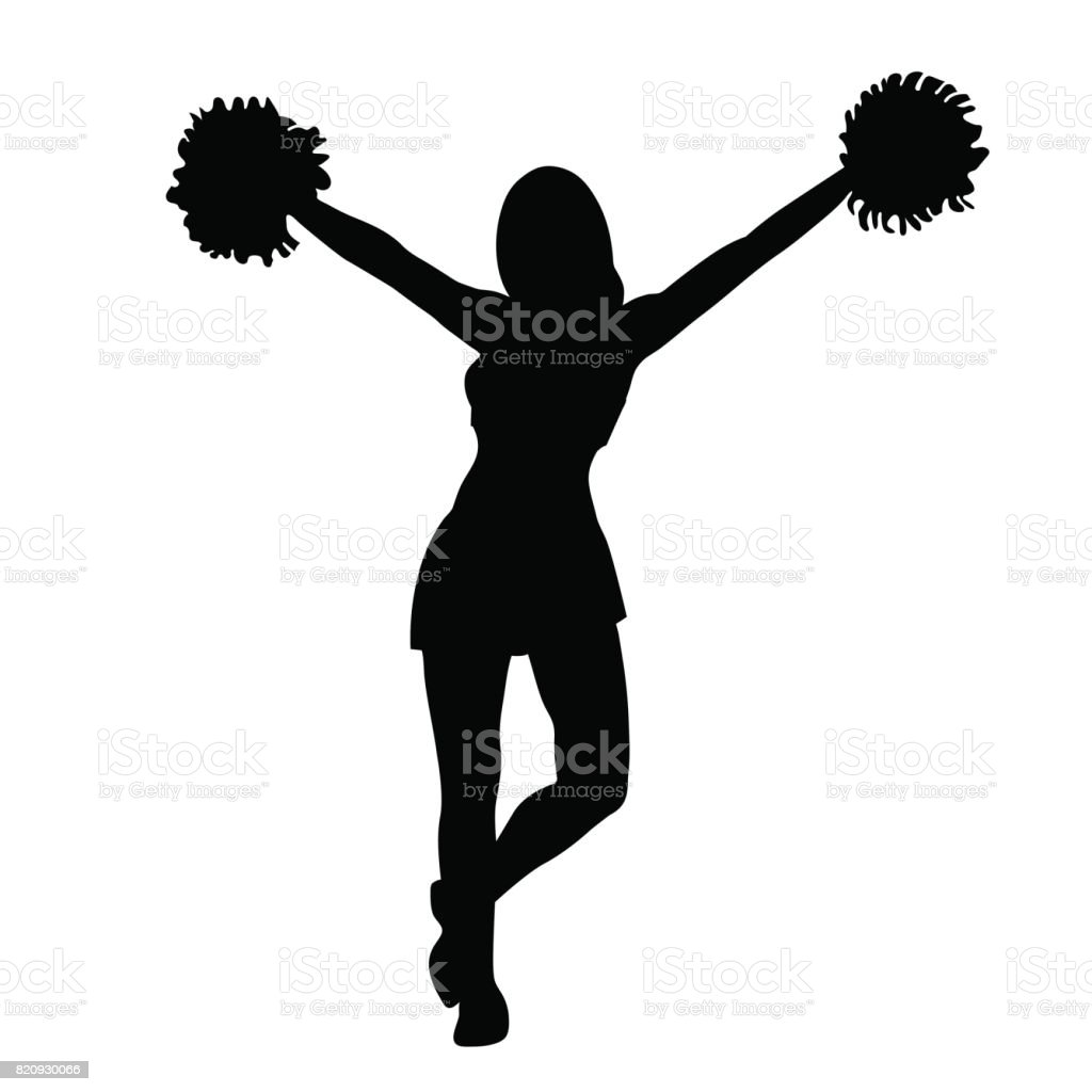 Cheerleader girl silhouette. Contour girl with hands up waving pompoms. Isolated on white background. Vector illustration vector art illustration