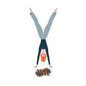 Cheerleader girl stand on hands