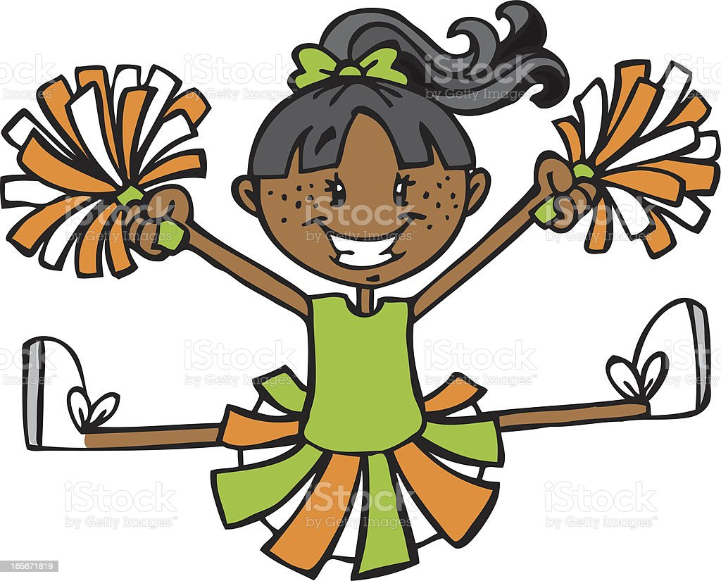 Cheerleader - Green & Orange vector art illustration