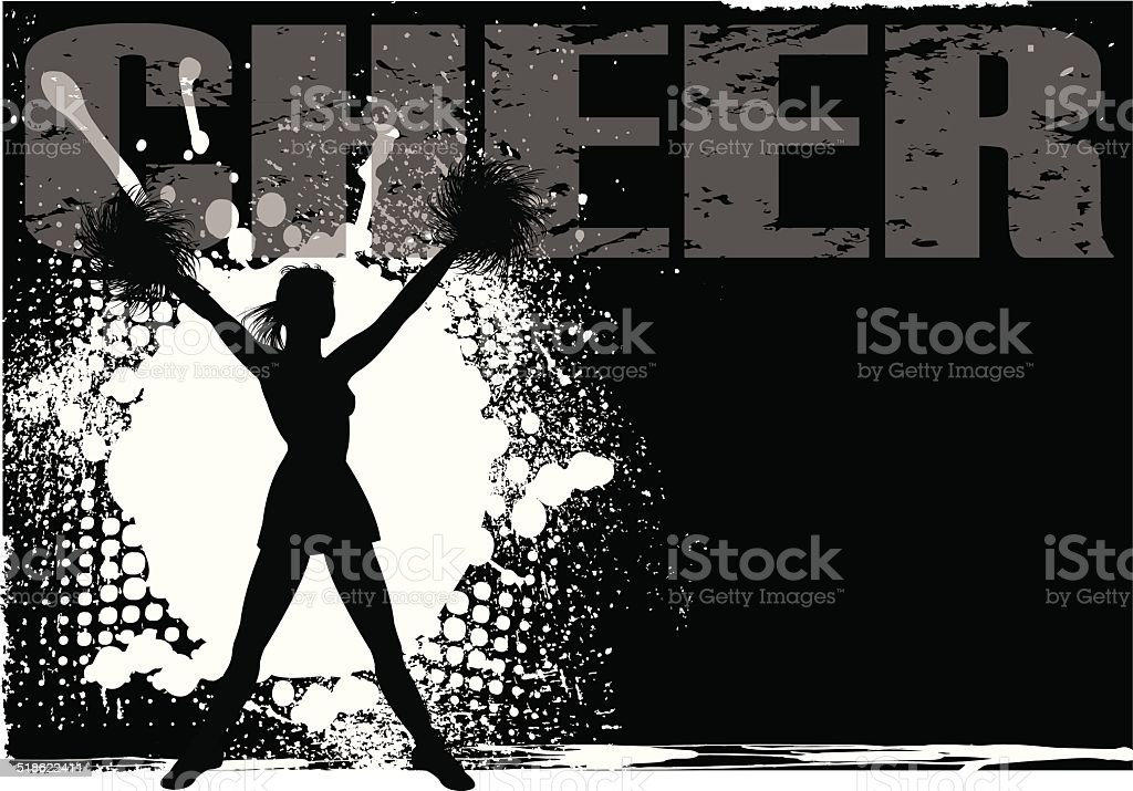 Cheerleader Grunge Backgraound vector art illustration