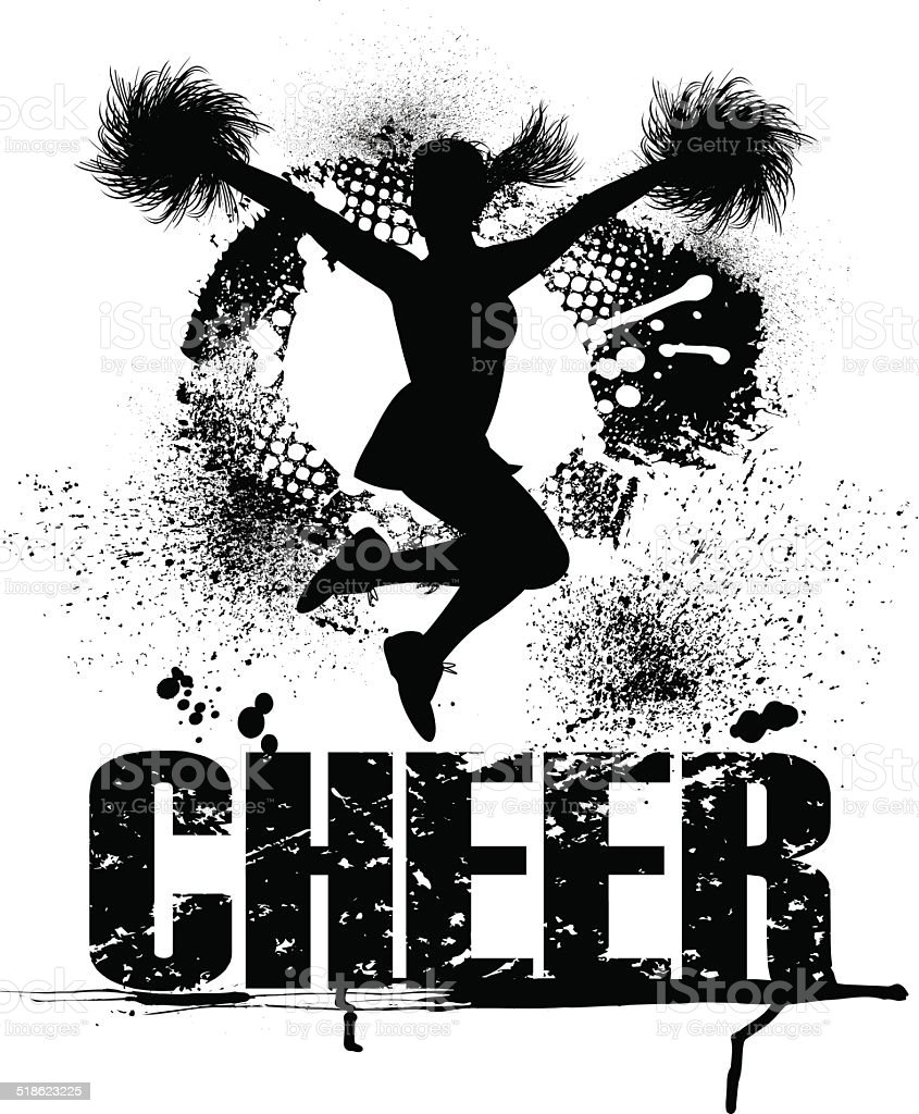 Cheerleader Grunge Graphic Stock Illustration