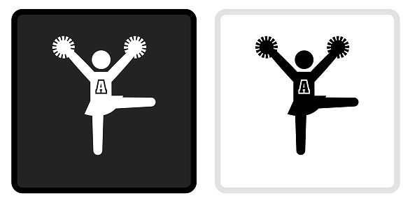 Cheerleader Icon on  Black Button with White Rollover