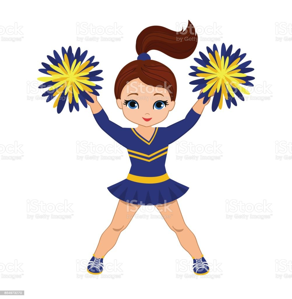 Cheerleader in blue and yellow uniform with Pom Poms. vector art illustration