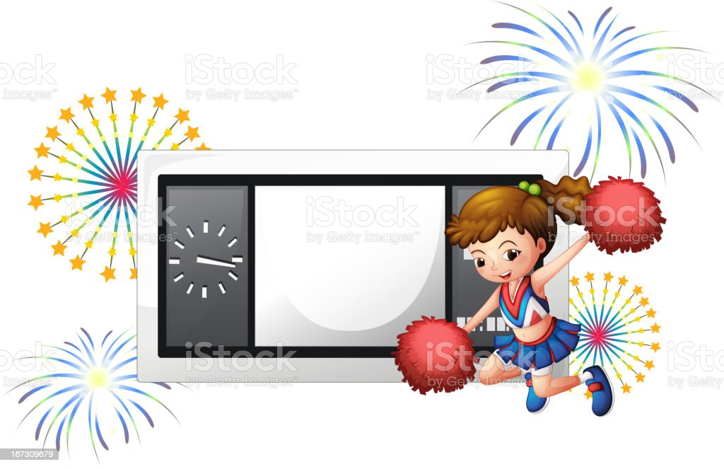 Cheerleader in front of a rectangle scoreboard royalty-free cheerleader in front of a rectangle scoreboard stock vector art & more images of adult