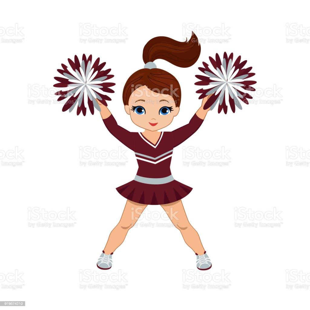 Cheerleader in maroon and silver uniform with Pom Poms. vector art illustration