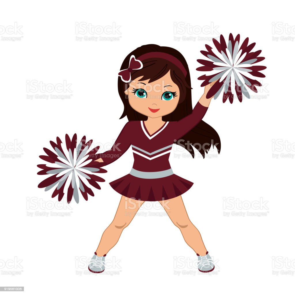 Cheerleader In Maroon And Silver Uniform With Pom Poms Stock Vector Art & More Images Of African