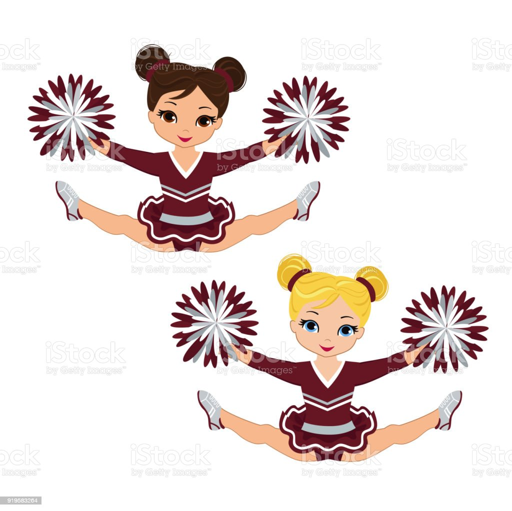 royalty free cute black teenage cheerleader with pom poms clip art rh istockphoto com free clipart cheerleader pom poms pom poms clipart