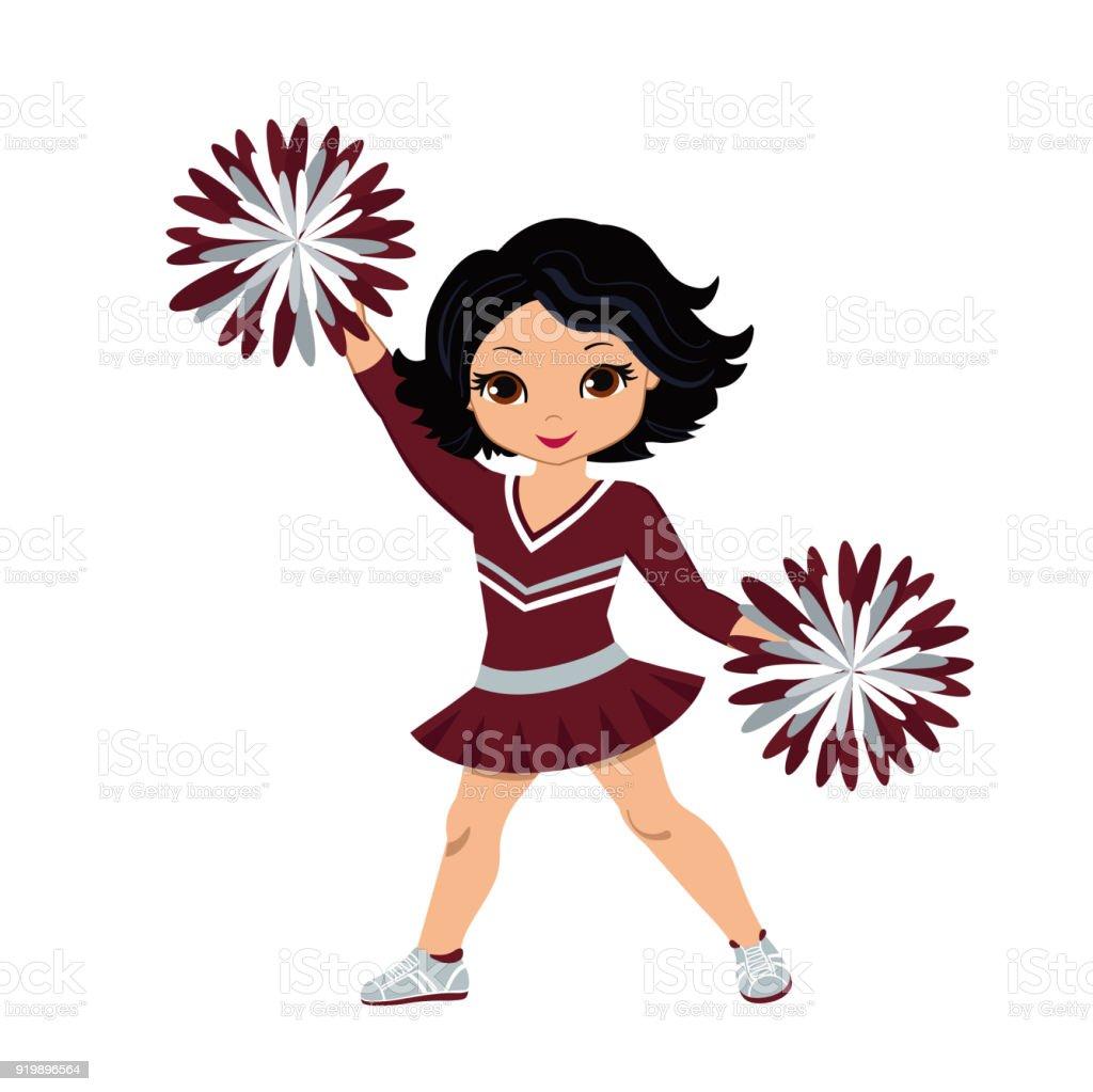 cheerleader in maroon and silver uniform with pom poms stock vector rh istockphoto com cheerleading vector drawings cheerleading victory