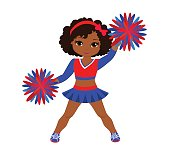 Cheerleader in red blue uniform with Pom Poms.