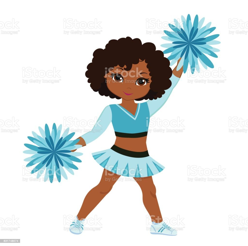 Cheerleader in turquoise uniform with Pom Poms. vector art illustration