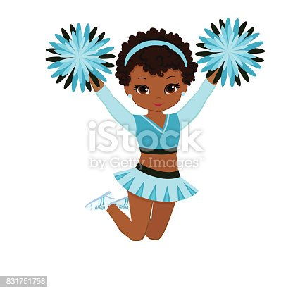 Cheerleader In Turquoise Uniform With Pom Poms Stock ...