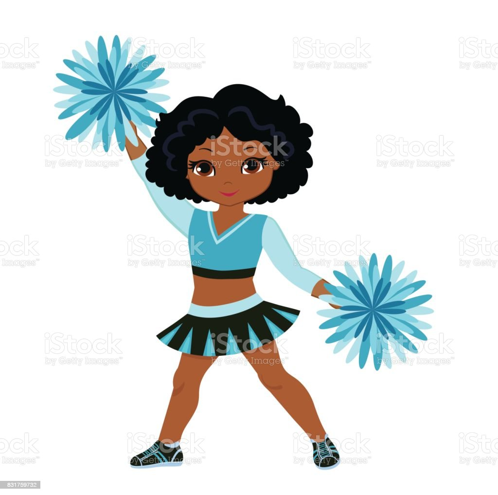 royalty free cute black teenage cheerleader with pom poms clip art  vector images free clip art of cheerleader outline Free Cheerleader Graphics