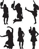 Cheerleader in various actions