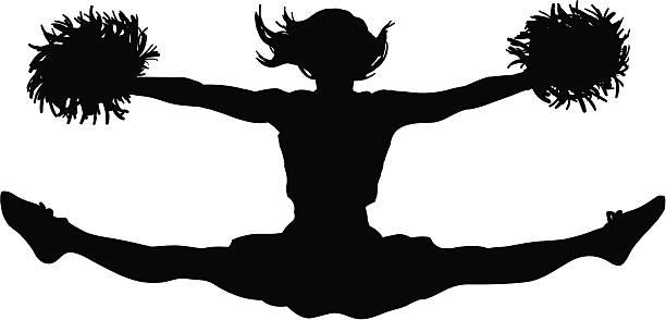 cheerleader jumping teilstrecken - spagat stock-grafiken, -clipart, -cartoons und -symbole