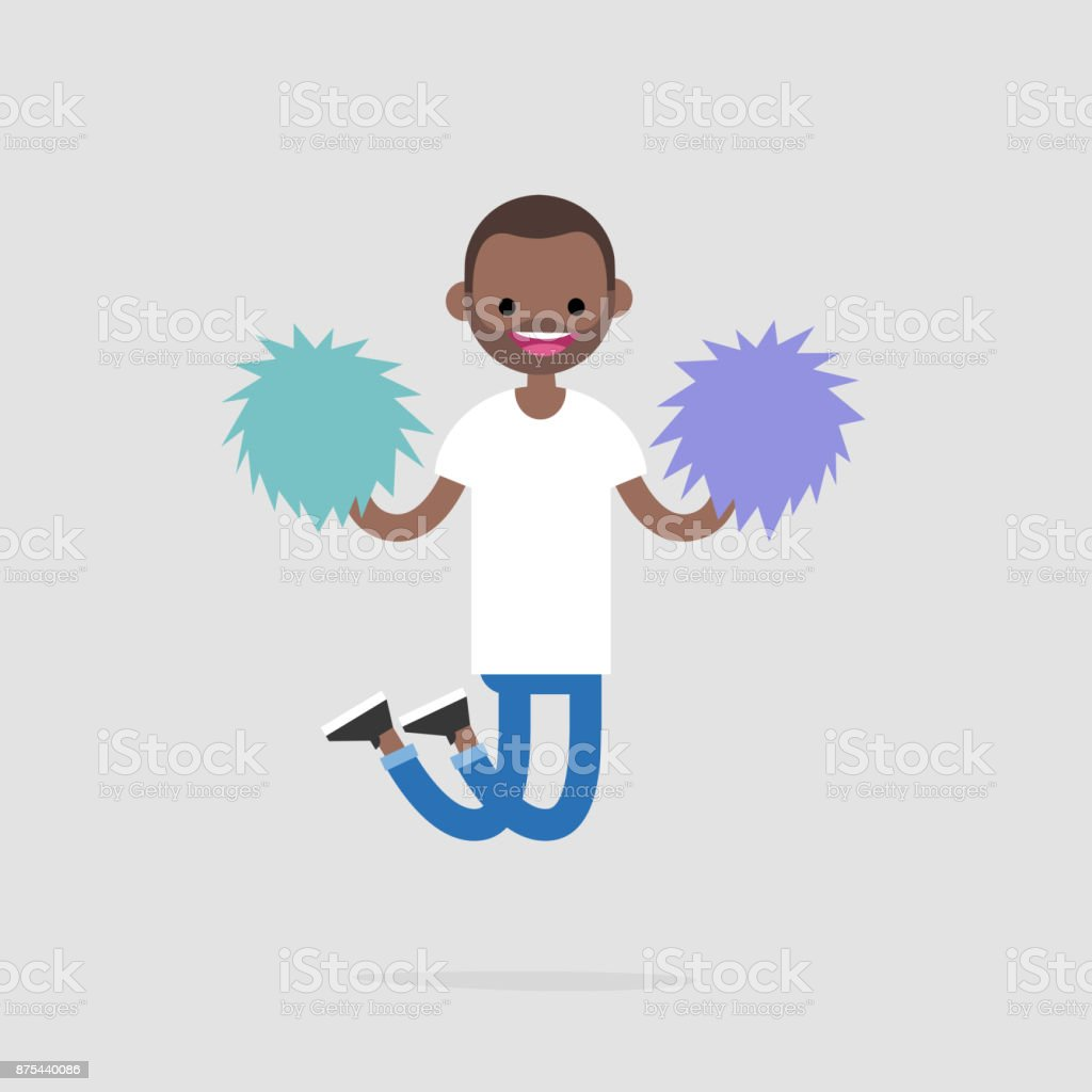 Cheerleader jumping with the pompoms. Sport activities. Supporting the team. Young excited character celebrating the success. Flat editable vector illustration, clip art vector art illustration
