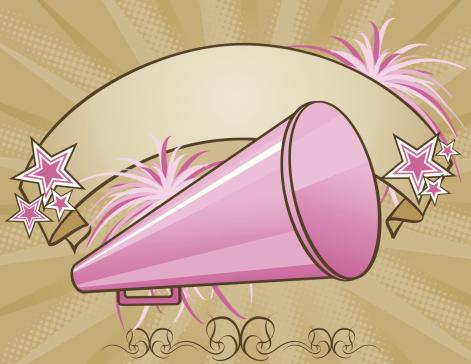 Cheerleader megaphone and banner