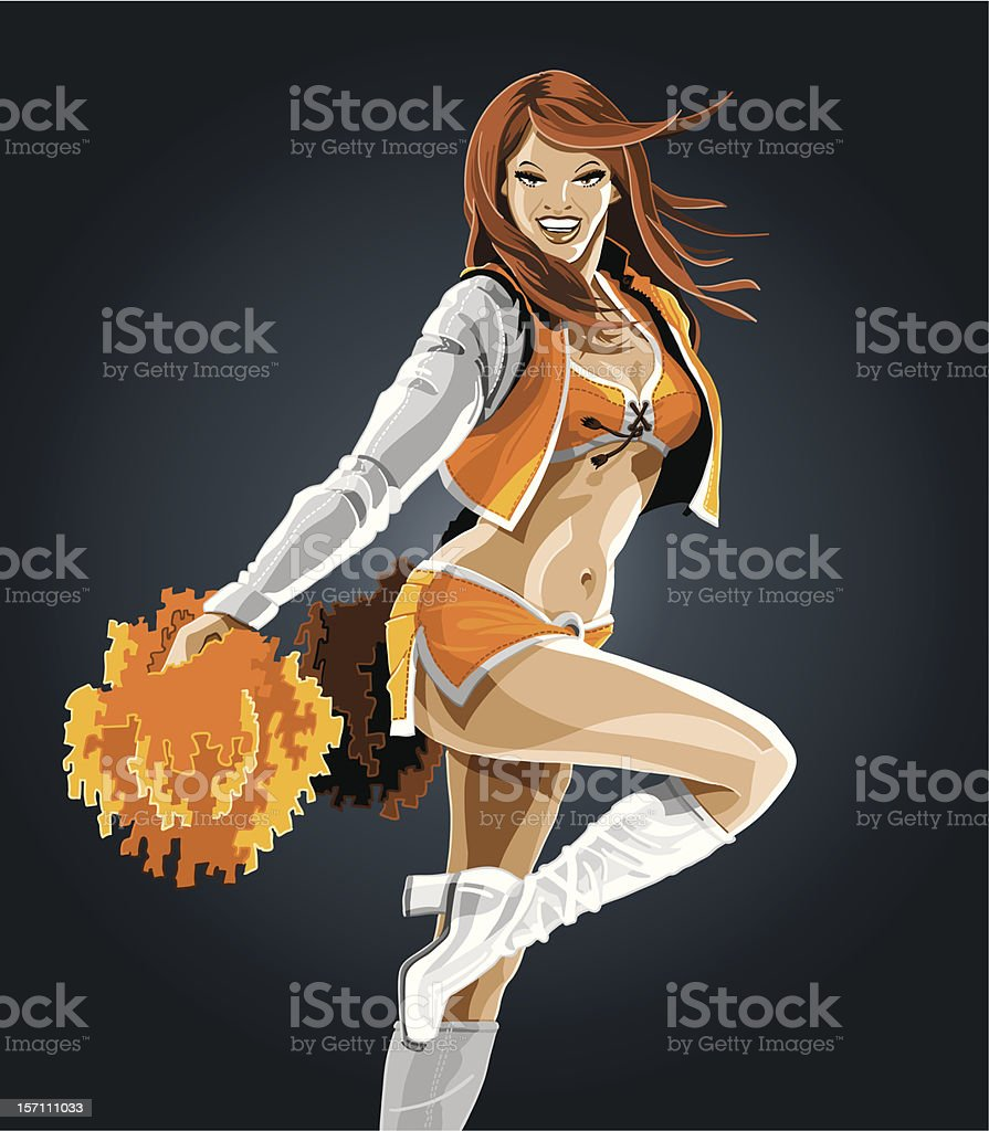 Cheerleader Orange royalty-free stock vector art