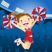 Cheerleader performing at the stadium