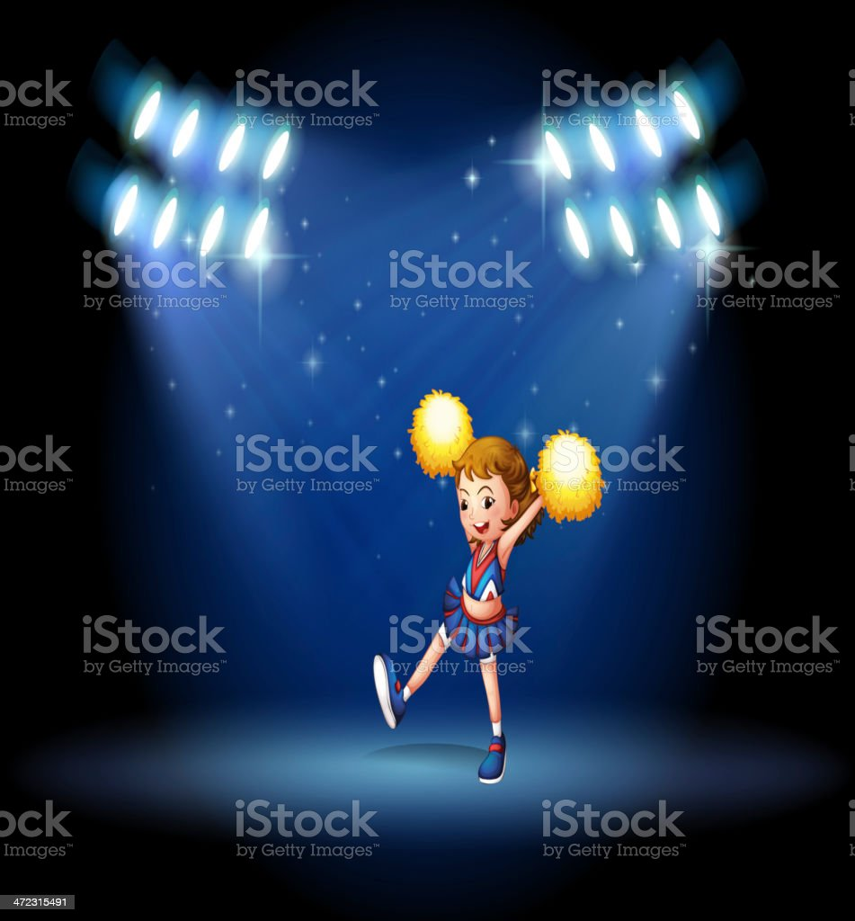 Cheerleader performing on the stage with spotlights royalty-free stock vector art