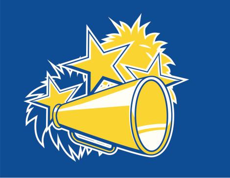 Cheerleader pompoms and megaphone