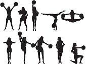 Cheerleader silhoeuttes.