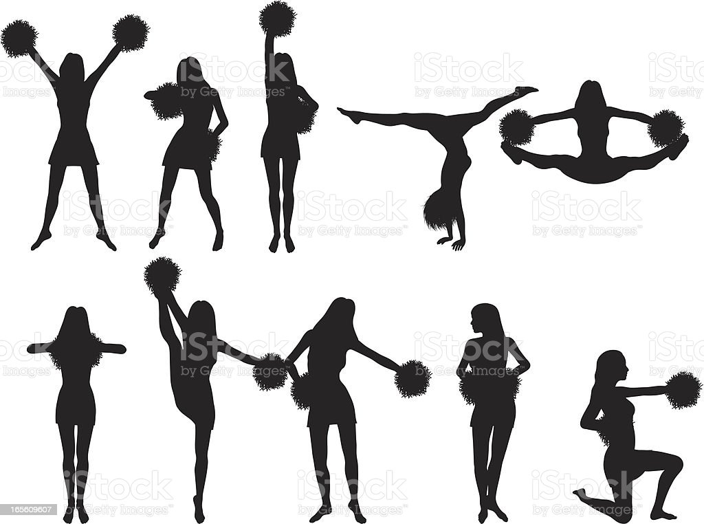 Cheerleader Silhouette Collection vector art illustration