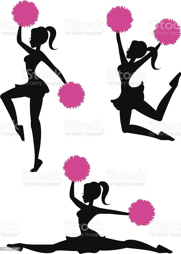 Cheerleader Silhouettes royalty-free stock vector art