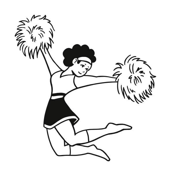 stockillustraties, clipart, cartoons en iconen met cheerleaders - pompon