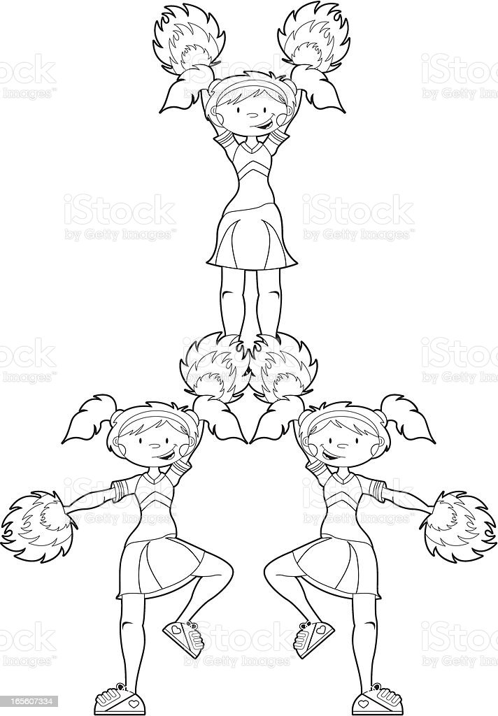 cheerleaders in pyramid formation royalty free stock vector art