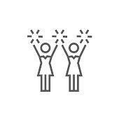 Cheerleaders line icon