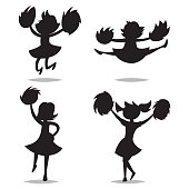 Cheerleader silhouette vector isolated.