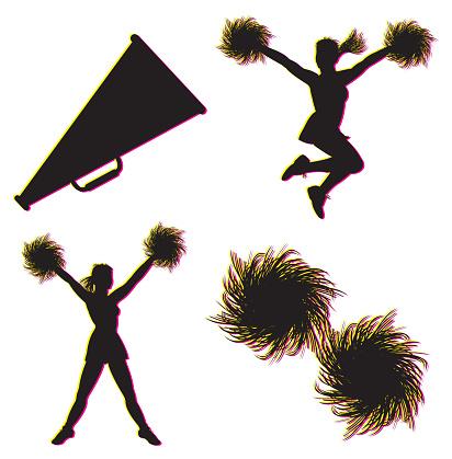 Cheerleading, Cheerleaders, Megaphone, Pom-poms