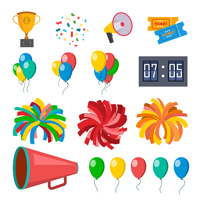 Cheerleading Icons Set Vector. Cheerleaders Accessories. Pompoms, Balloons, Confetti, Megaphone. Isolated Flat Cartoon Illustration